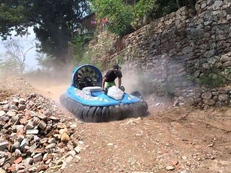 Hov Pod Hovercraft Yacht Tender: Demonstrating it can go places a conventional yacht tender can't!
