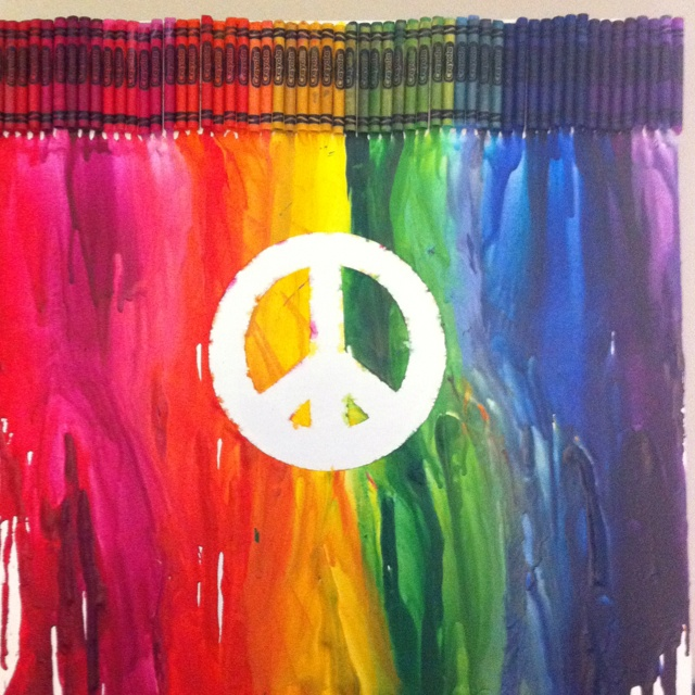 Melted crayon art with peace sign hot glue crayons to for How to make a melted crayon art canvas