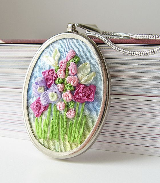 ribbon embroidery pendants - inspiration