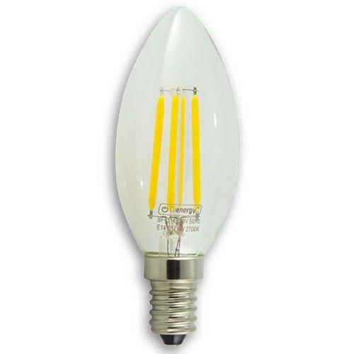 4W LED Filament Bulb, E14, warm white light, 3 years warranty.   4W Bec LED cu filament, E14, 220V, lumina alba calda, 3 ani garantie - 25.20 RON  www.dienergyled.ro