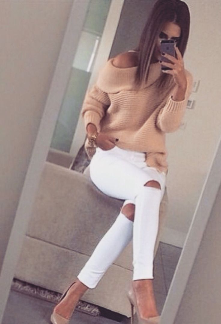 beige sweater white trousers. women fashion outfit clothing style apparel @roressclothes closet ideas
