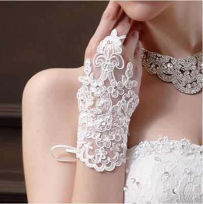 Свадебные кружевные перчатки короткие люси относится к свадебное платье форма одежды аксессуары белый laciness кружевные перчатки