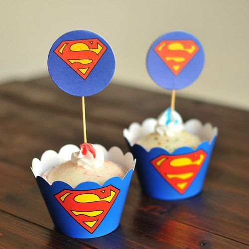 24Pcs Superman Cupcake 12 Wrapper & 12 Toppers Baby Shower Kids Birthday Party  #Unbranded
