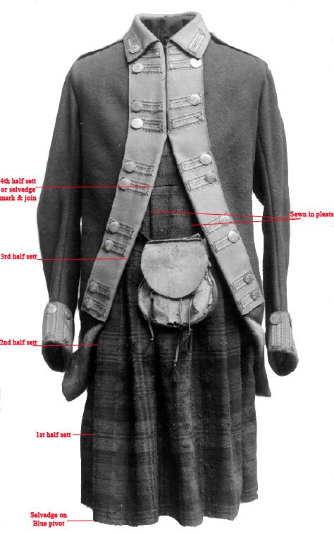 Northern (Gordon) Fencibles uniform (1778-83) that was formerly in the Zeughaus Museum, Berlin unitl 1945 after which it disappeared, perhaps destroyed. Belted plaid of 42nd or Government tartan with 4 half sett and a selvedge mark. Sewn in pleats.