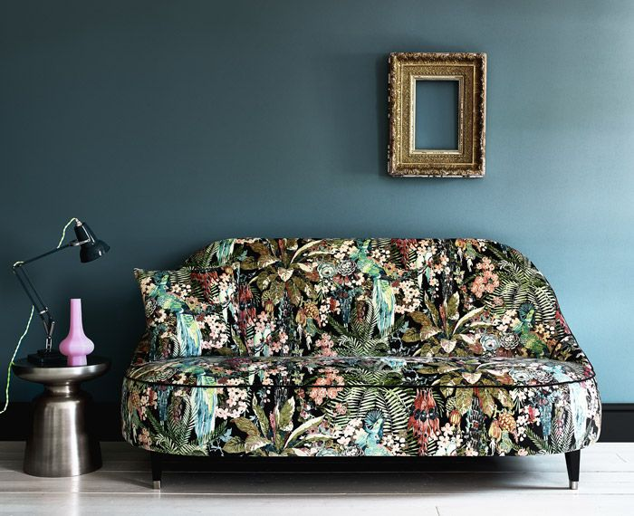 Contemporary large tropical floral  print in velvet from Linwood Fabrics.