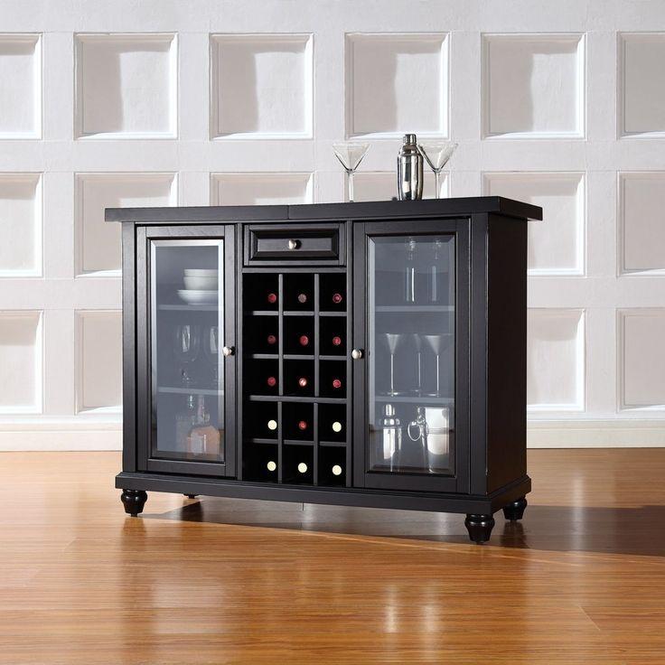 Wood Wine Cabinet With Glass Door