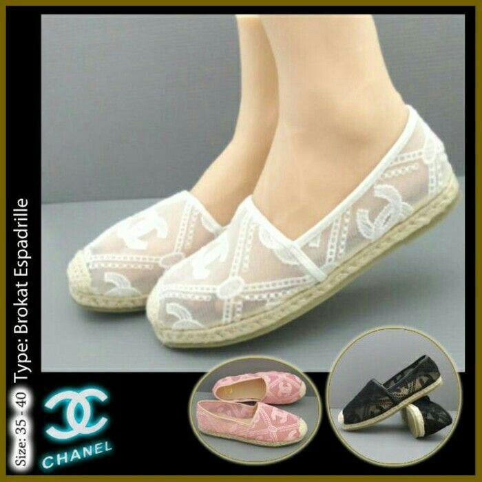 Sepatu Chanel Brukat Espadrillas Flat 4810 Black 35 Pink 35,36,37,39,40 White 35,36,38 210rb