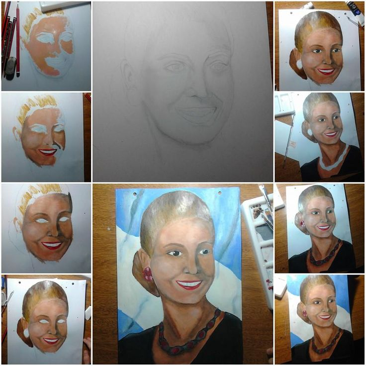 Evita es pueblo, mi primer retrato con pintura.   #Evita #Dibujo #Retrato #Proceso #Arte