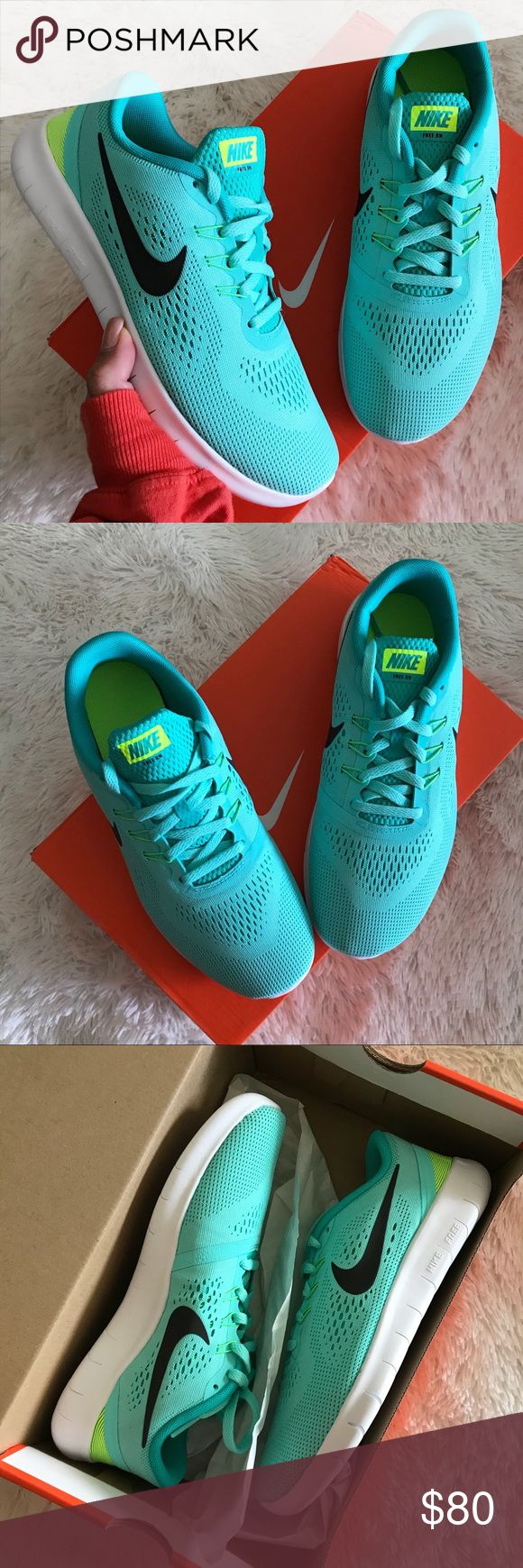 NWB 💠 NIKE FREE | TIFFANY BLUE BRAND NEW, NIKE FREE! Super cute, cozy & comfy NIKES | LUXURIOUS TIFFANY COLOR! ✨💠  FULL ORIGINAL BOX. THE PERFECT GIFT! 🎁  ORDER YOUR WOMANS SHOE SIZE 6 youth = 7.5 WOMEN 6.5 youth = 8 WOMEN  ALL SIZES LISTED ACCORDING TO NIKE'S SIZE CHART. PLEASE KNOW YOUR YOUTH SIZE PRIOR TO PURCHASING. ✨💠  Ships same or next day from my smoke free home.   PRICED FIRM, offers will be considered through the offer button only. Bundle to save. ✨ 💠  100% authentic & direct…