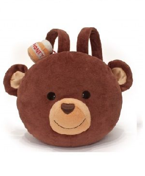 Cubby Plush Backpack - $54.95 - Each of the cuddly plush backpacks is made from organic cotton, so they are super soft inside and out.  The eyes and nose are made of a natural silk and hemp blend and these are filled with a natural corn fiber.    #sweetcreations #kids #gifts #designer #backpack #bear #ApplePark