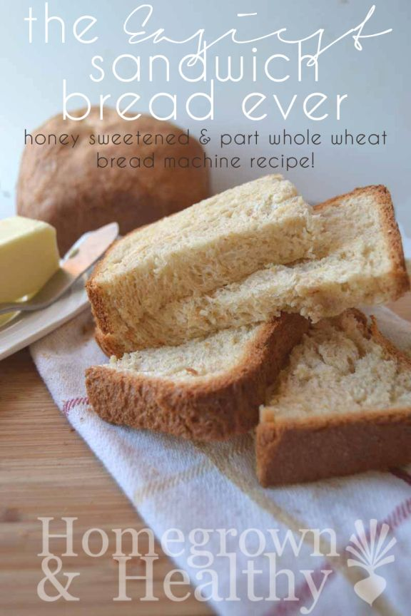 This EASY bread machine recipe uses honey as a sweetener and part whole wheat flour. The best sandwich bread I've made!