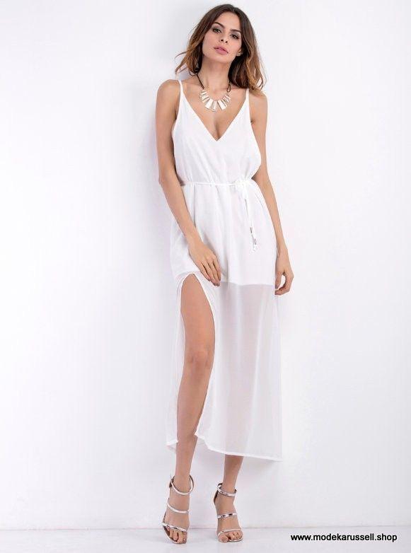 best loved 0c005 affa5 Rückenfreies Chiffon Kleid mit Schlitz und V-Ausschnitt ...