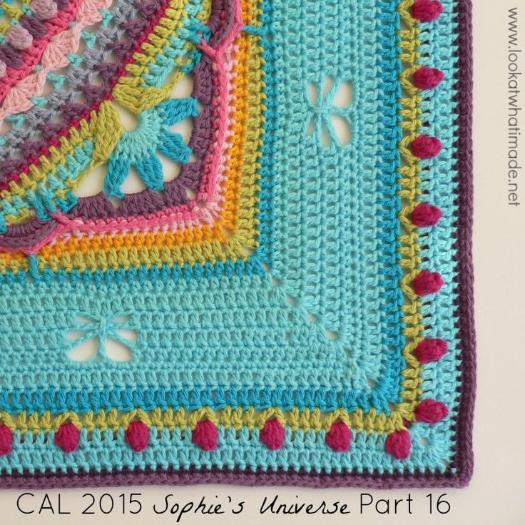 Part 16 of Sophie's Universe CAL 2015.  This crochet-along is a 20-week project with step-by-step photos, video tutorials, and translations.  #lookatwhatimade #sophiesuniversecal2015 #learntocrochet