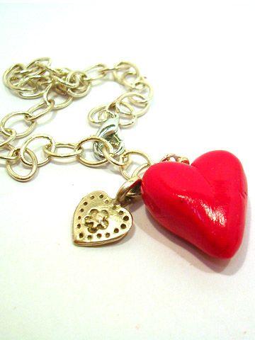 valentine's day polymer clay heart bracelet