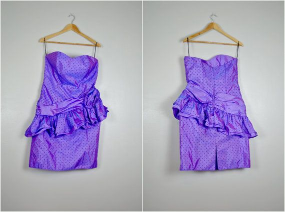 Purple Polka Dot Party Dress Vintage Purple Party by RaleighRetro