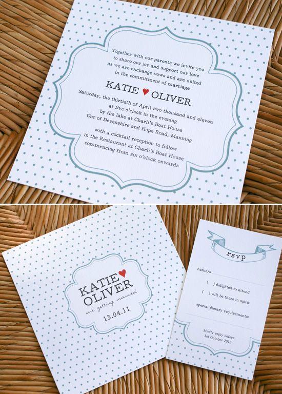 Polka Dot Wedding invitation Sweet Wedding Invitations From Poppiseed Designs