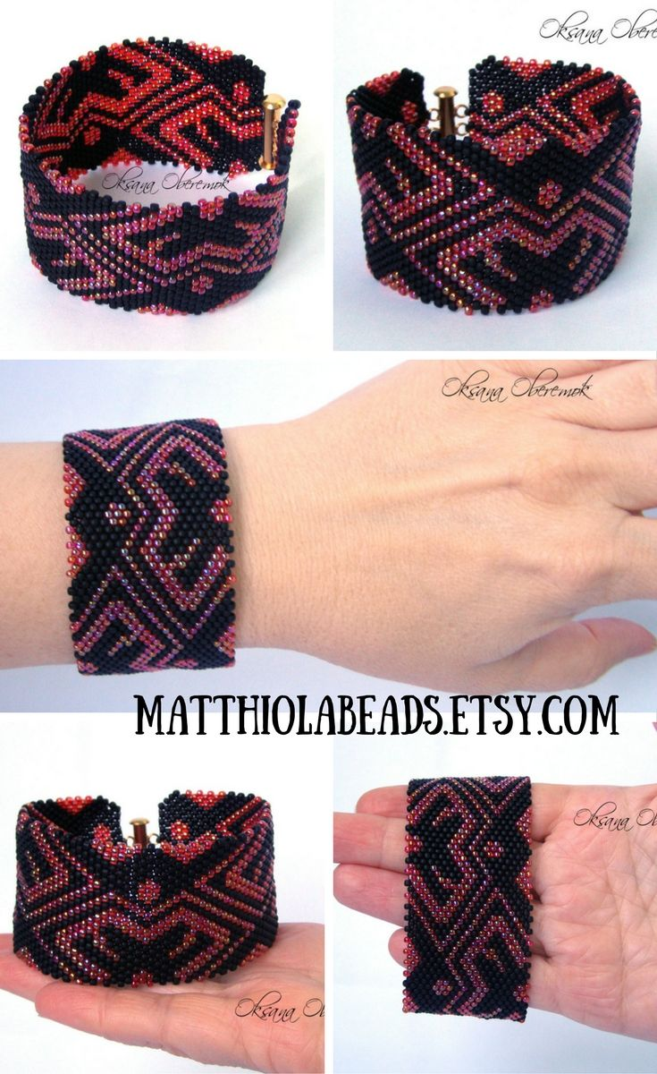 It's a beautiful Red gift bracelet made of expensive Japanese seed beads. This is boho beaded bracelet for woman, but can also be used as a bracelet for him. This minimalist bracelet is good as wife birthday gift. The pattern for this bracelet gypsy is designed by me. The pattern of the bracelet is stylized as an ethnic ornament. I can also say that it is Ukrainian bracelet.  This bead cuff ukrainian is made in the technique of brick stitch.