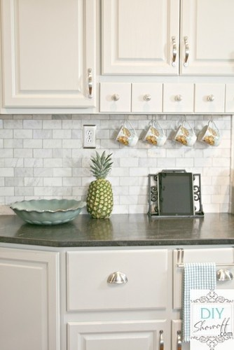 Pinterest  Dark Countertops, Eclectic Kitchen and White Cabinets