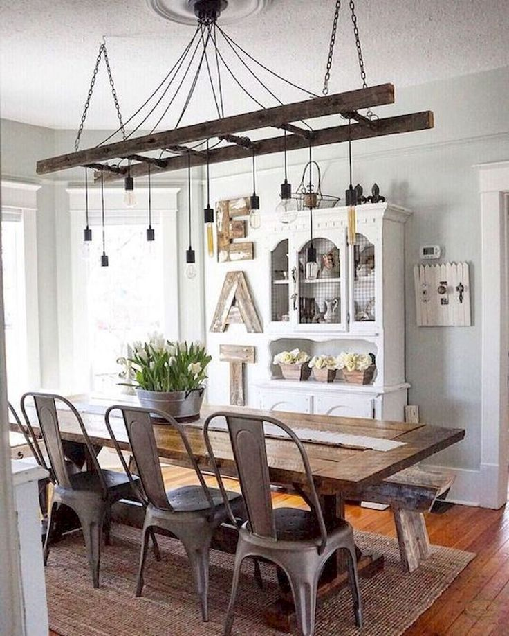 12 Rustic Dining Room Ideas: 20 The Best Farmhouse Ladder Chandelier Design Ideas (12
