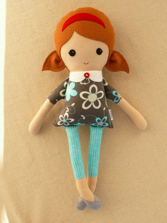 Fabric Doll Rag Doll Girl in Gray Floral Dress by rovingovine,