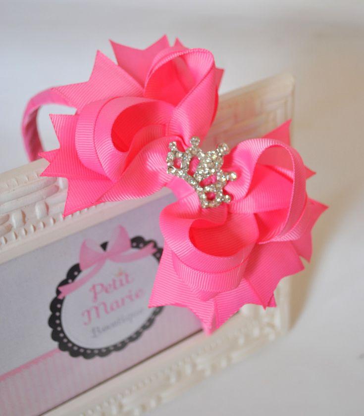 Arco com super laço de boutique - coroa de princesa. <br> <br>Cores: <br>Ver mostruário #1 A #5