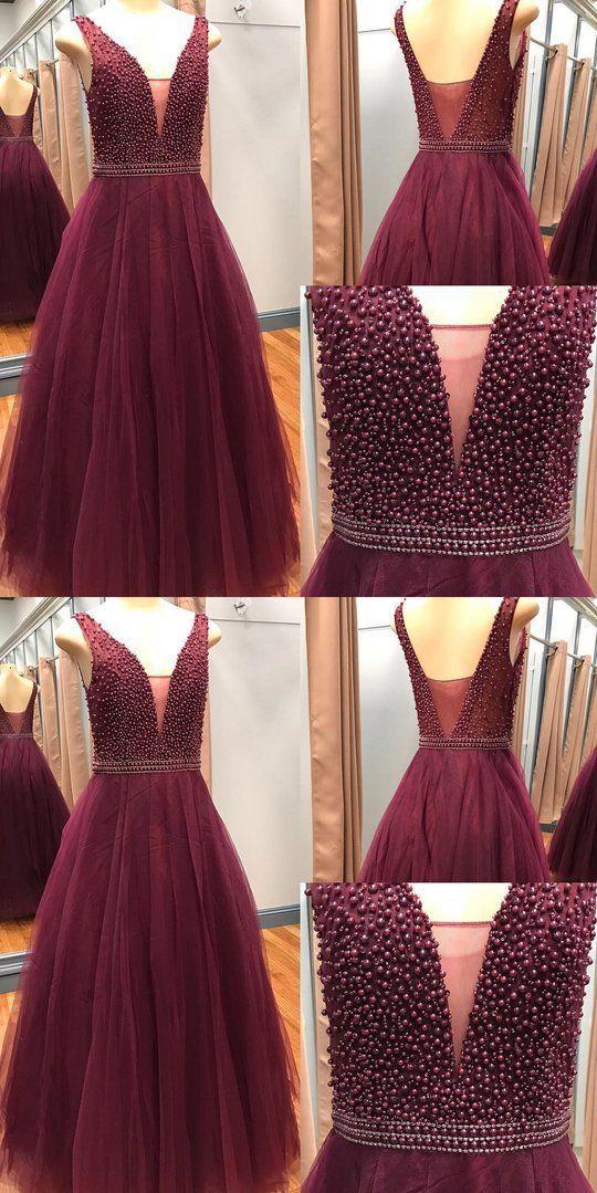 e7dc97f59b Burgundy Plunge V neck Tulle Prom Dress