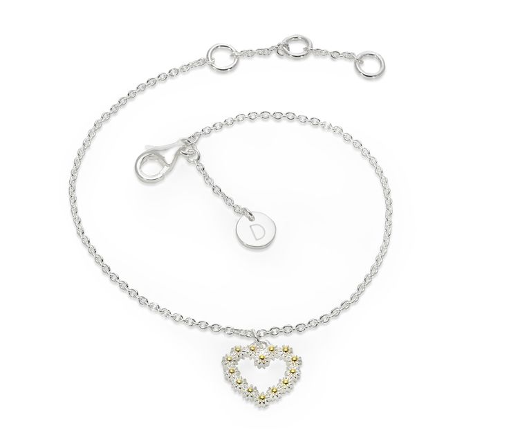11mm Iota one heart drop bracelet - BR6019 - Daisy London - Ladies Jewellery  The perfect little flower girl or bridesmaid gift for a summer wedding! #wedding #daisies #hearts
