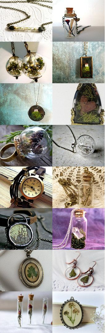 Forest girl at heart by Kristina on Etsy--Pinned with TreasuryPin.com (Jewellery with real dried or pressed flowers, moss, lichen and leaves)