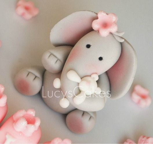 *SUGAR ART ~ elephant christening birthday cake topper holding teddy by Lucyscakesandtoppers.co.uk, via Flickr