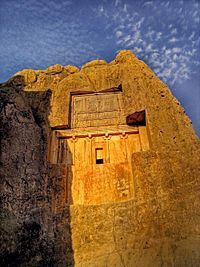 The rock-cut tomb at Naqsh-e Rustam north of Persepolis, copying that of Darius, is usually assumed to be that of Xerxes