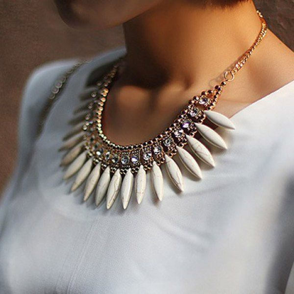 Cute Rhinestoned Leaf Shaped Pendant Alloy Necklace For Women, WHITE in Necklaces | DressLily.com