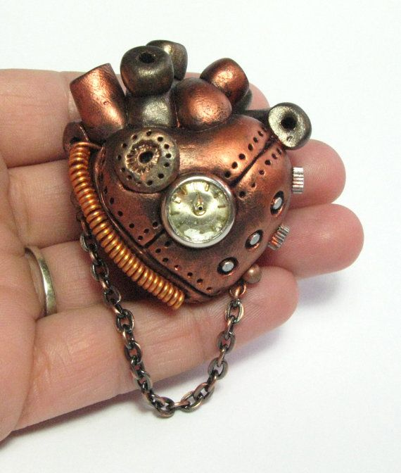 Coppernopolis  - Steampunk Heart - Industrial Heart Pendant - polymer clay - anatomical. $45.00, via Etsy.