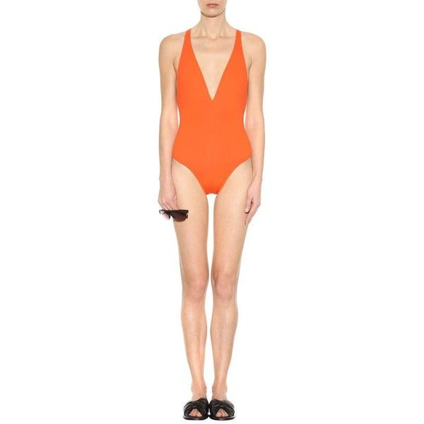 Proenza Schouler Embellished Swimsuit ($410) ❤ liked on Polyvore featuring swimwear, one-piece swimsuits, orange one piece swimsuit, swim suits, embellished swimwear, orange bathing suit and bathing suit swimwear