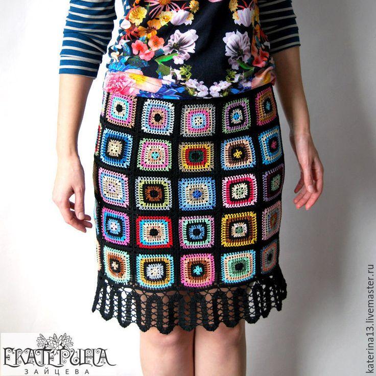 """Купить Юбка """"Дивная"""" - комбинированный, абстрактный, яркая юбка, Вязание крючком, вязаная юбочка"""