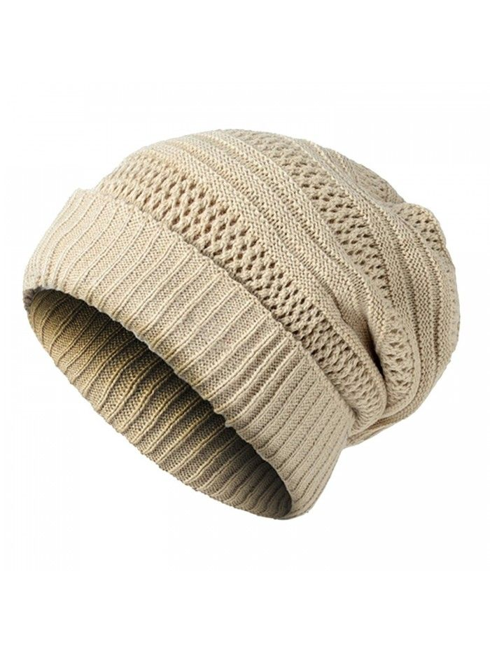 770f9b00265 Unisex Oversized Cable Knit Slouchy Beanie Warm Thick Winter Hats Skull Cap  - Beige - CJ186NEG5G2