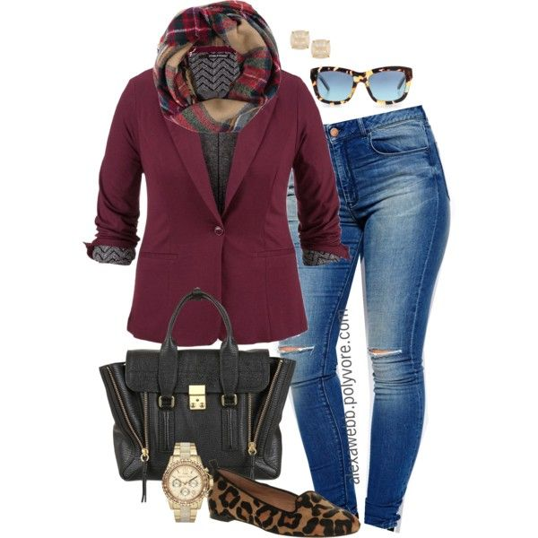 "#plussized #Fall #fashion ""Plus Size - Blazer & Loafers"" by alexawebb on Polyvore"