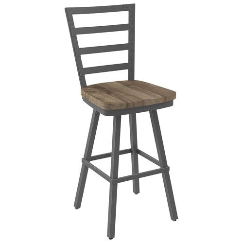 Capture the aesthetic appeal of a simpler bygone age with this industrial-inspired and semi-distressed Prescot bar-height stool. Riveted slats, nail holes, knots, screw marks, deep cuts, and simulated worm holes make this swivelin... Free shipping on orders over $35.