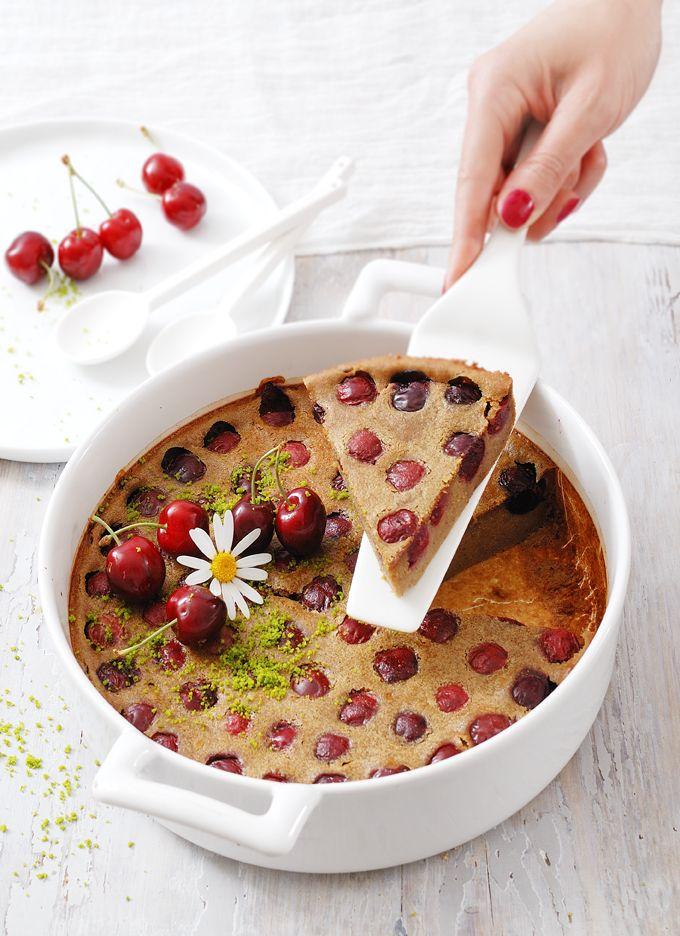 My Sweet Faery: Clafoutis végétal aux cerises et à la pistache - Vegan cherry pistachio clafoutis