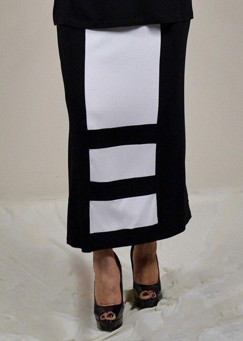 φούστα δίχρωμη σε στενή γραμμή