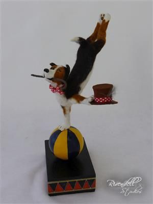 Needle felted and polymer clay - Bailey the Circus Dog - Doreen Backway - Rivendell Studios
