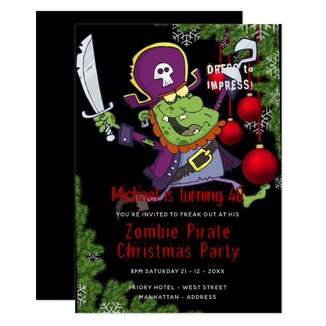 Zombie Pirate Christmas Party Invite Funny Zazzle Com With