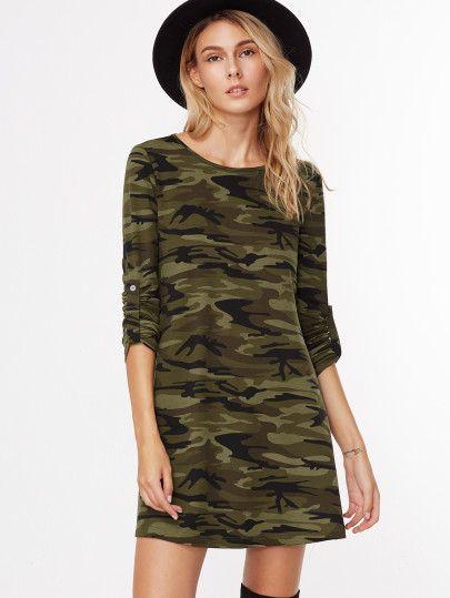 A-Linie Kleid Roll Kragen Camouflage Druck