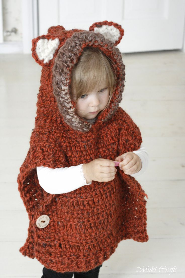 CROCHET PATTERN fox wolf hooded chunky poncho Max (toddler/child/adult sizes) (5.00 USD) by MukiCrafts