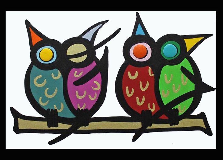 Gemälde Acryl Leinwand Dekoration Original Keilrahmen bunt Eulen abstrakt art