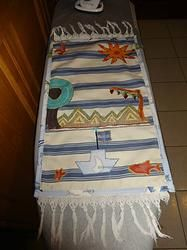 Greece deconstrcuted (Elytis) in a table runner