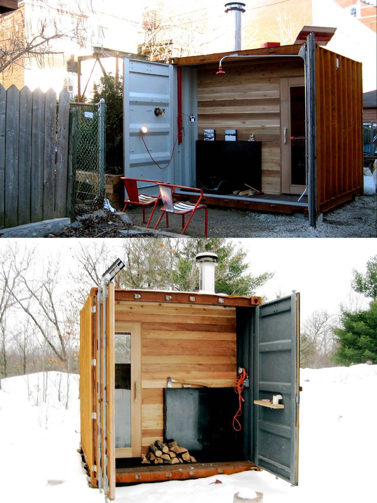 Castor Sauna box: wood-burning sauna built into a shipping container