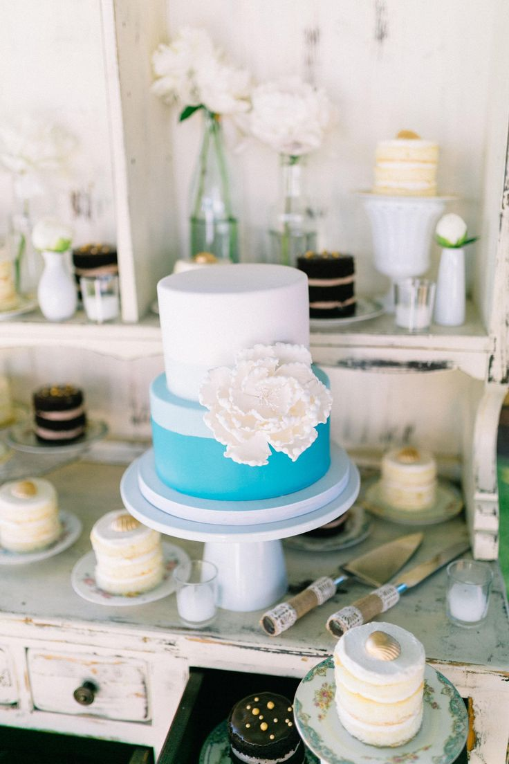 Aqua-blue and white wedding cake, sugar flower, petite personal-sized naked cakes, gold seashell chocolates // Catherine Ann Photography