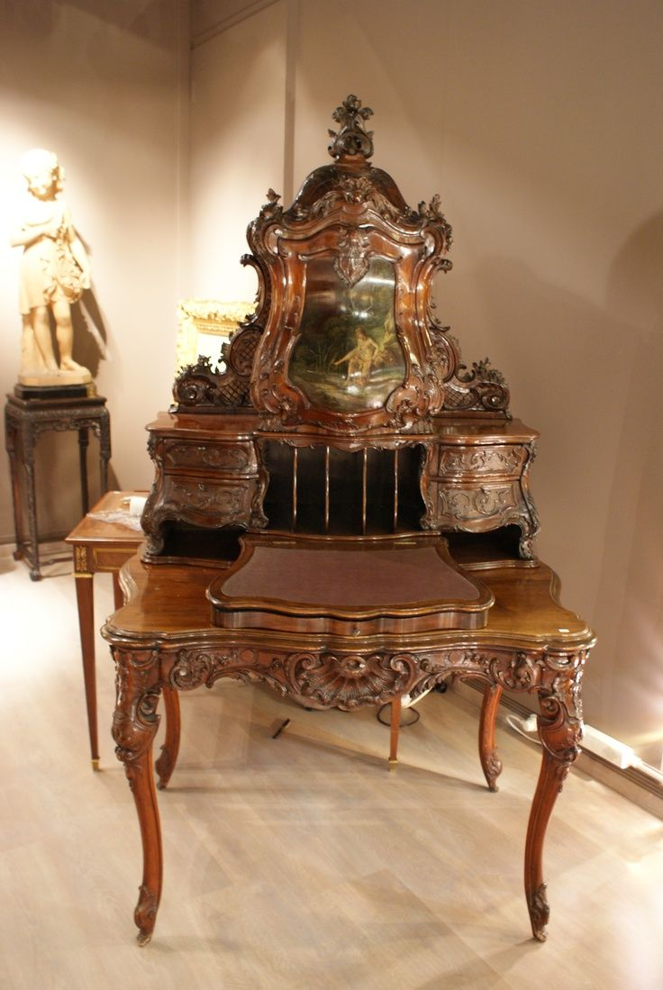Victorian carved rosewood center table w marble turtle top cottone - Louis Xv Style Desk