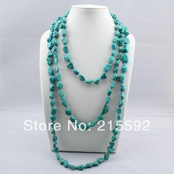 Удивительно! Новая Мода Синий Бирюзовый Длинное Ожерелье 51 дюймов Редкие Irrgular Бирюзовое Ожерелье Из Бисера Бесплатная Доставка AJS080