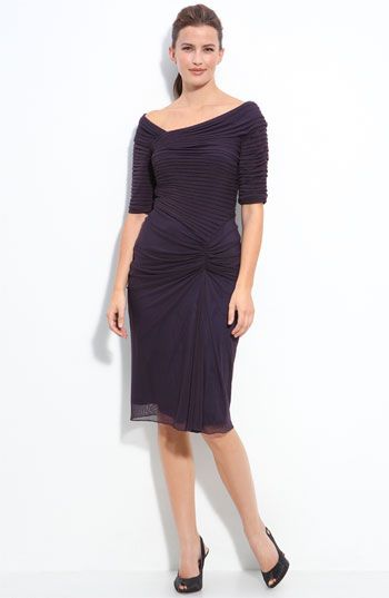 Tadashi Shoji Asymmetrical Ruched Mesh Dress available at #Nordstrom